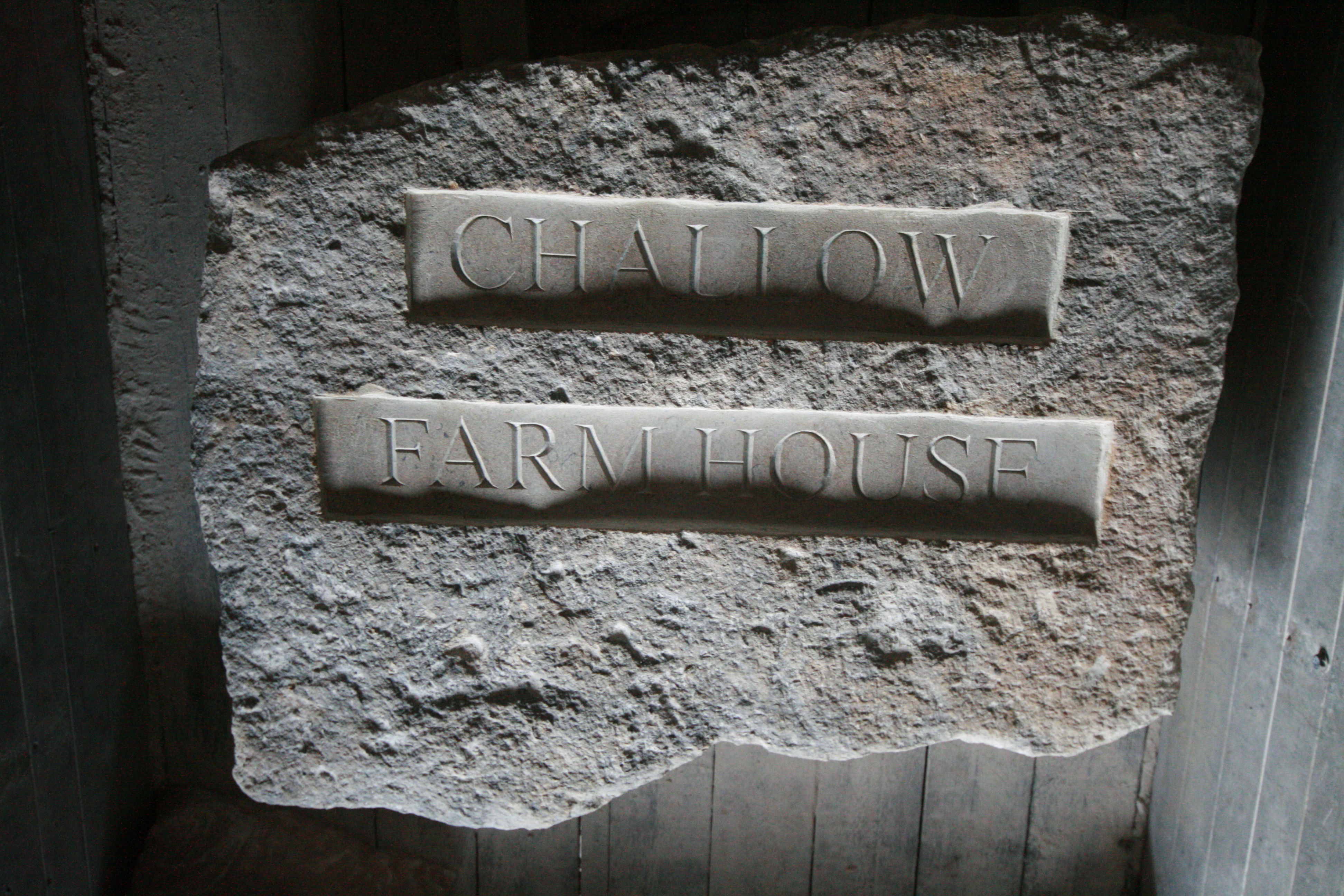 'Challow Farm House' - carved letters
