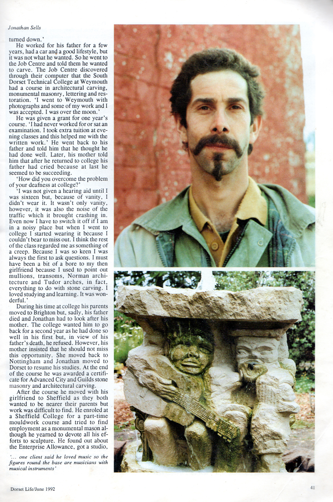 Jonathan Sells in Dorset Life, June 1992