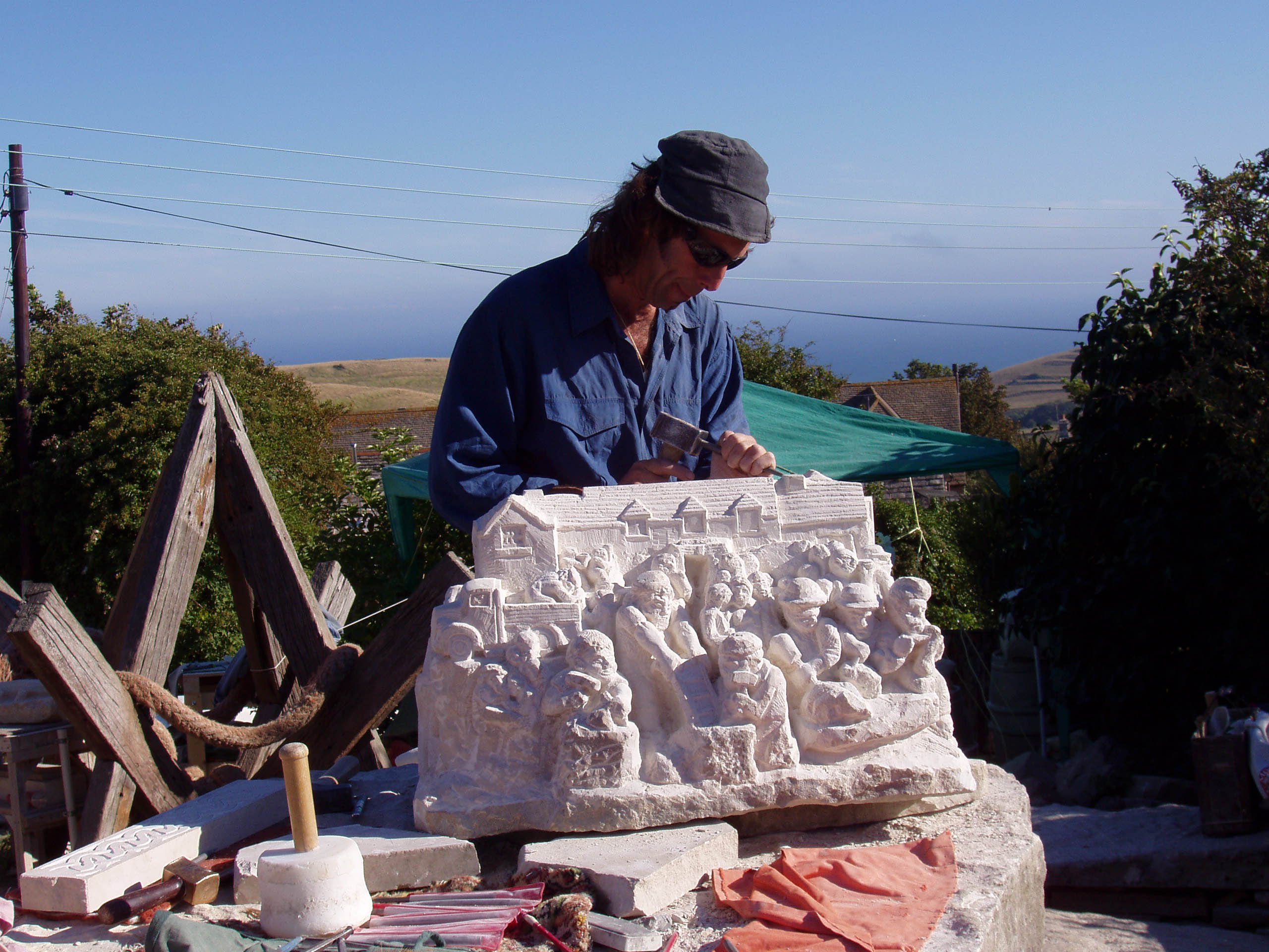 Jonathan Sells at The Square & Compass stone carving event