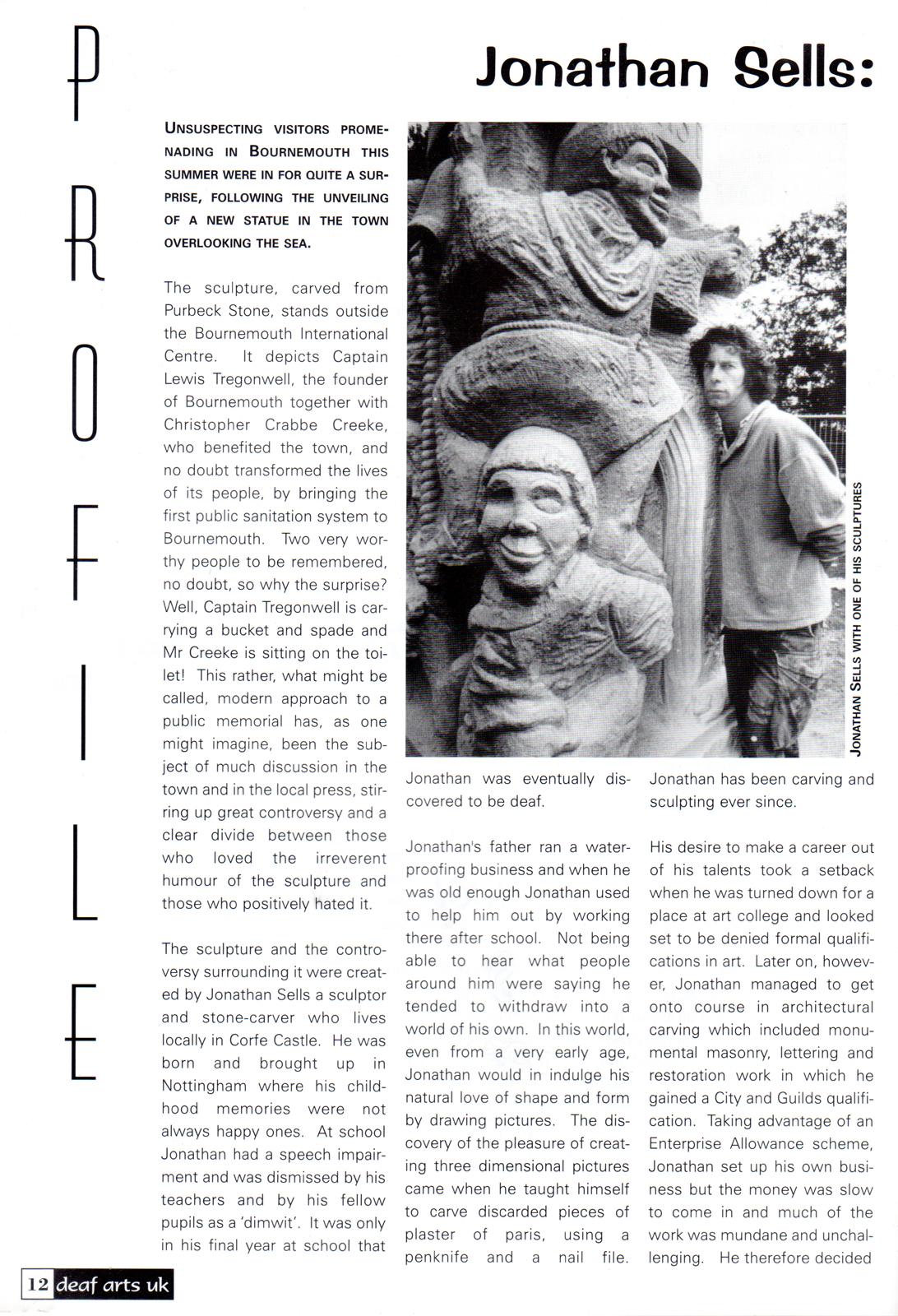 Deaf Arts UK - profile of sculptor Jonathan Sells
