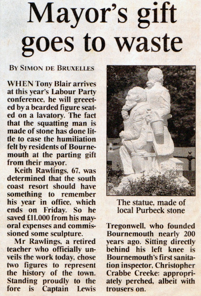 Jonathan Sells sculpture mentioned in The Times newspaper