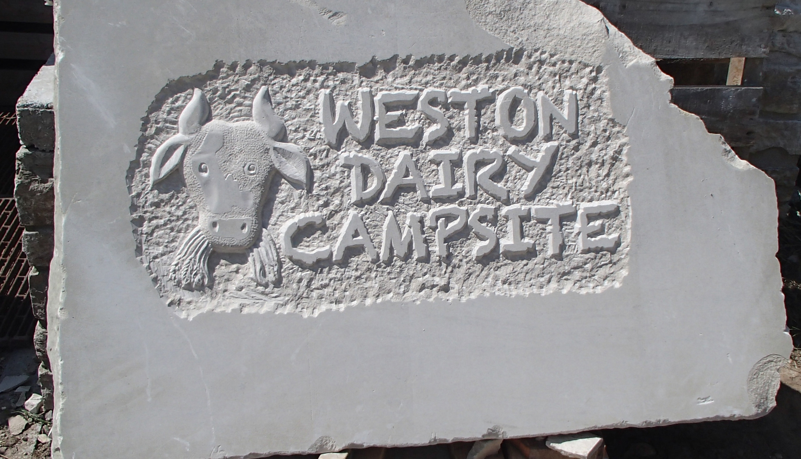 'Weston Dairy Campsite' - carved sign