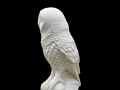Life-size barn owl carved In Caen stone.