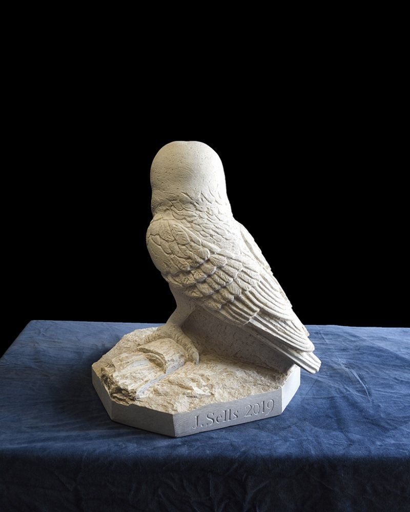Barn owl carved from Purbeck Stone.