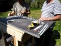 Learning to carve slate, Corfe Castle, Dorset. With stone carver and sculptor Jonathan Sells.