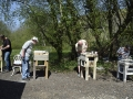 Students learning stone carving, at Sandy Hill Studios, Corfe Castle, Dorset.