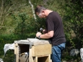 Learning stone carving at Corfe Castle, Dorset.