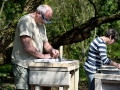 Learning stone carving techniques at Corfe Castle, Dorset.
