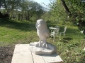 An owl carved from stone by stone carver and sculptor, Jonathan Sells.