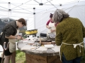 Stone carving lessons at the Purbeck Valley Folk Festival, 2019.