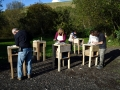 Halloween stone carving lesson, Corfe Castle, Dorset.