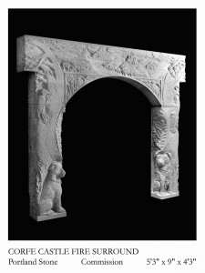 Corfe Castle fire surround carved in Purbeck stone