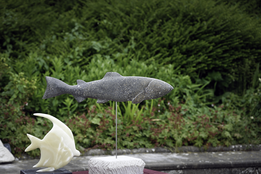 Salmon carved in Purbeck marble by Jonathan Sells. £300.