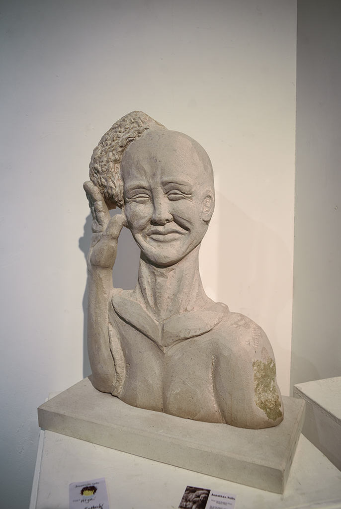 'Hiya' - carved in Purbeck stone by Jonathan Sells. SOLD.