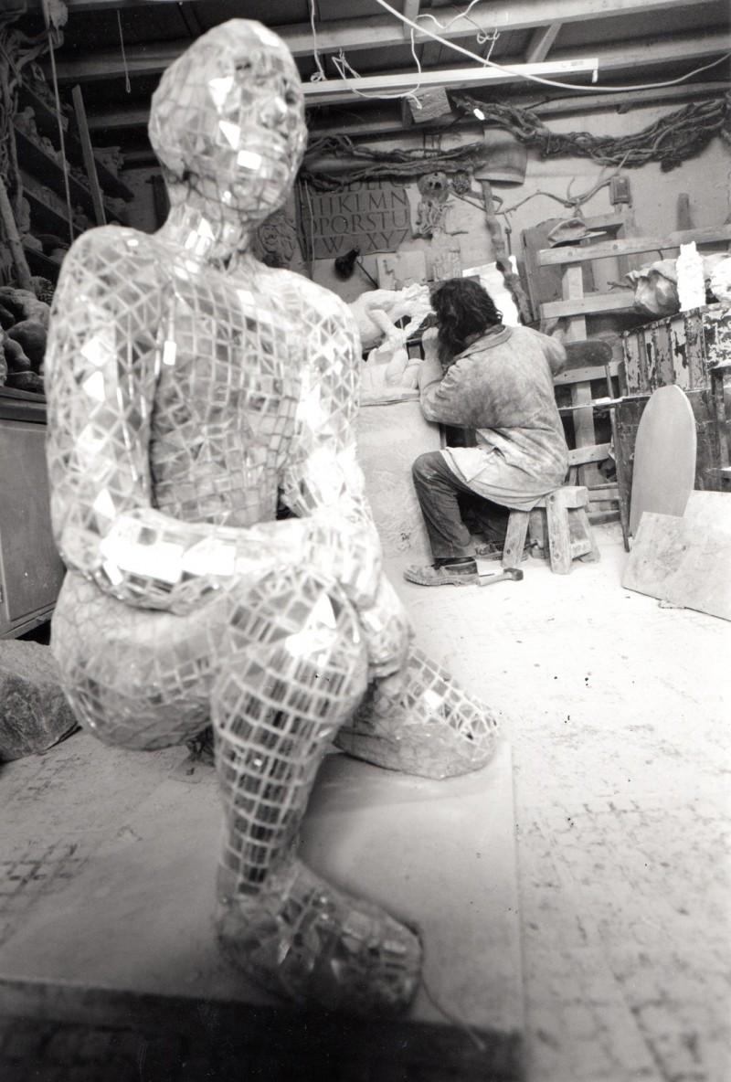 Mirror Man sculpture - front