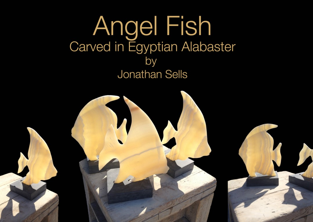 Angel Fish carved in Egyptian Alabaster by Jonathan Sells