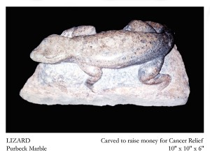 Lizard stone carving by Jonathan Sells