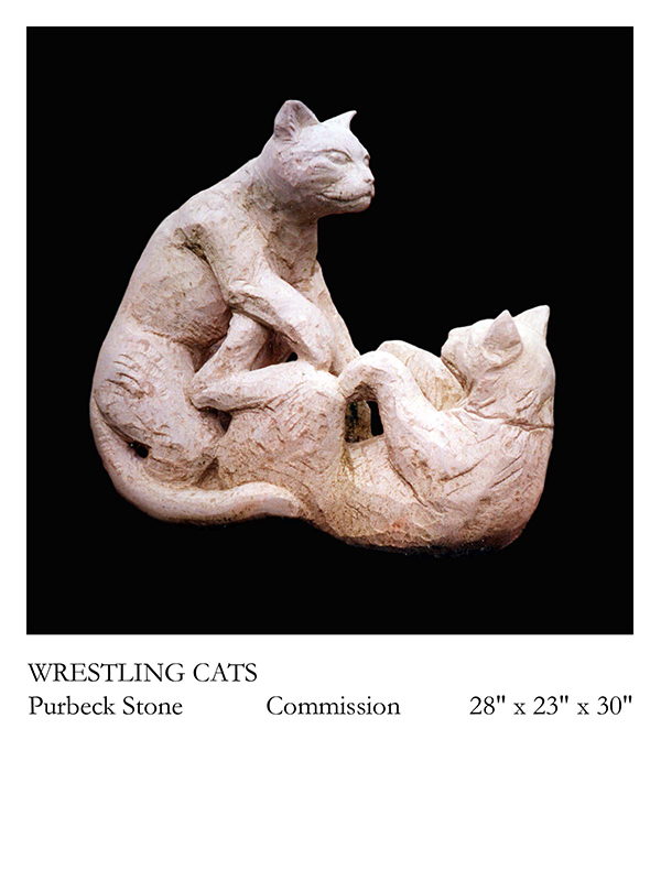 Wrestling Cats stone carving by Jonathan Sells