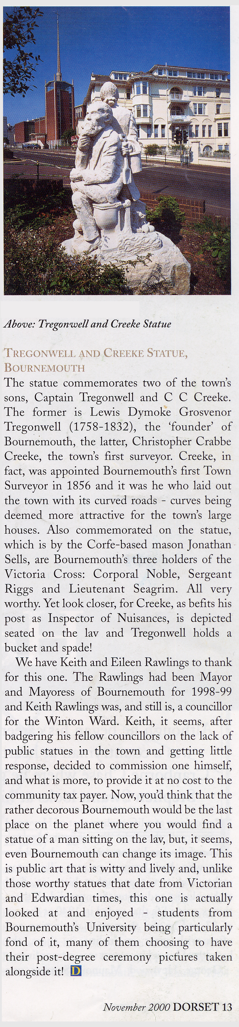 Press cutting about the Tregonwell/Creeke statue.