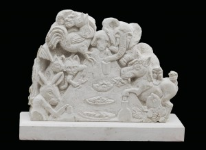 Animal banquet carved in Purbeck stone by Jonathan Sells