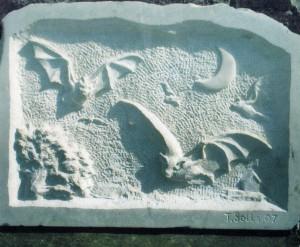 Bat stone carving