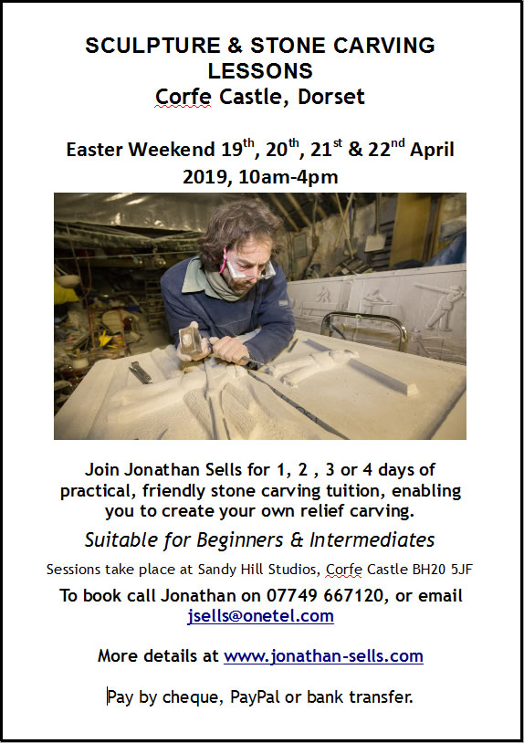 Stone carving courses at Corfe Castle, Easter 2019.