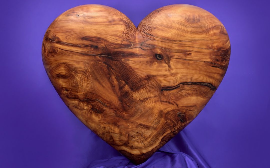 Heart carved in yew & commissioned for Bournemouth Hospital Charity's 'Petal Garden'