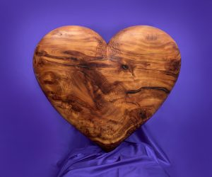 'Heart' Carved in Yew by Jonathan Sells.