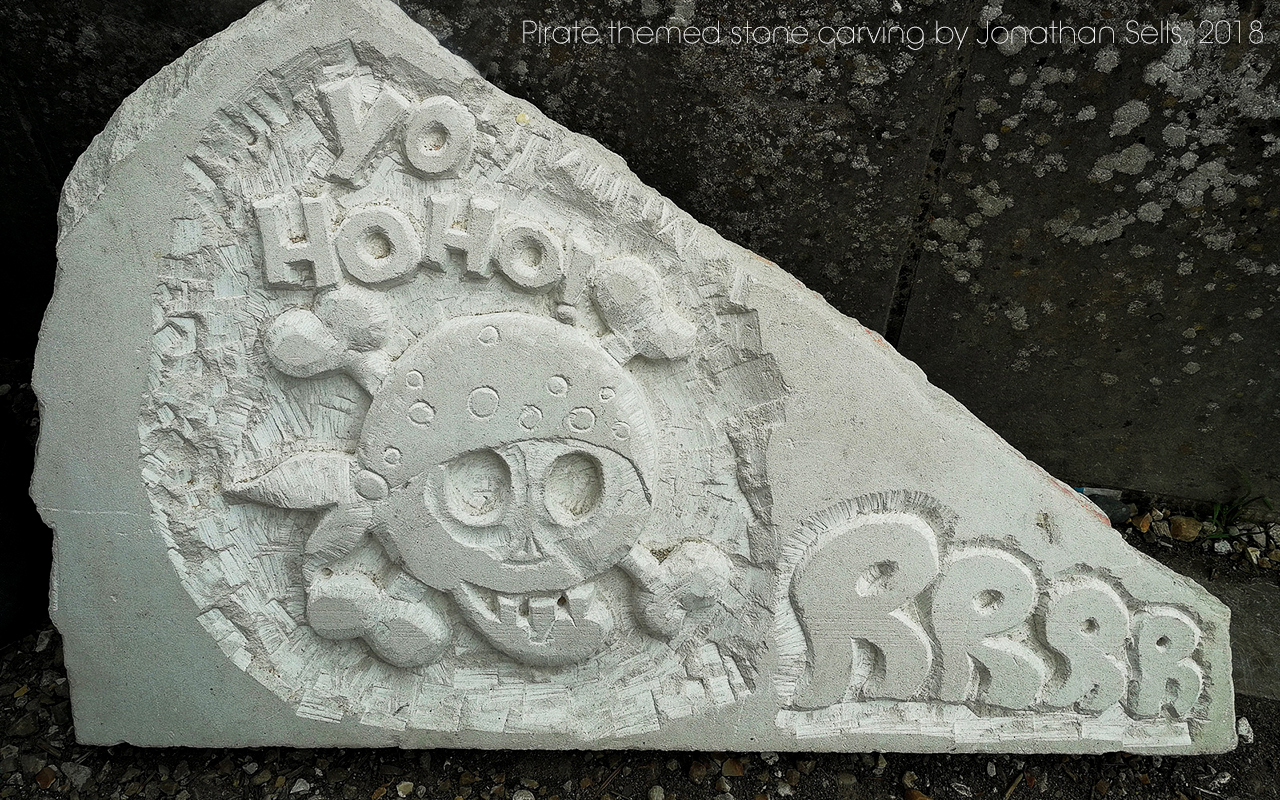 Pirate stone carving by Jonathan Sells.