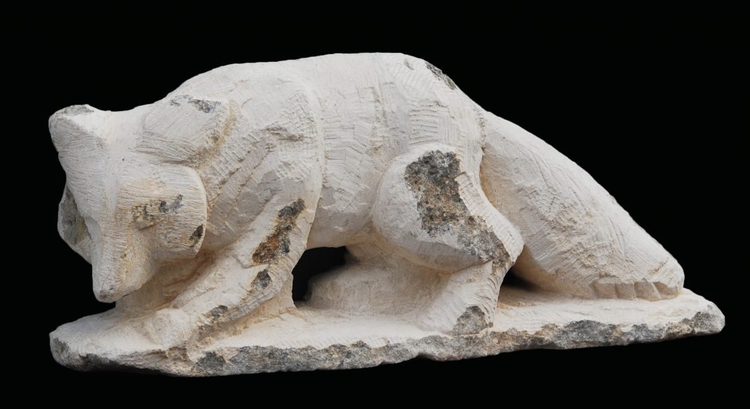Stone fox, by Jonathan Sells, stone carver, Dorset.