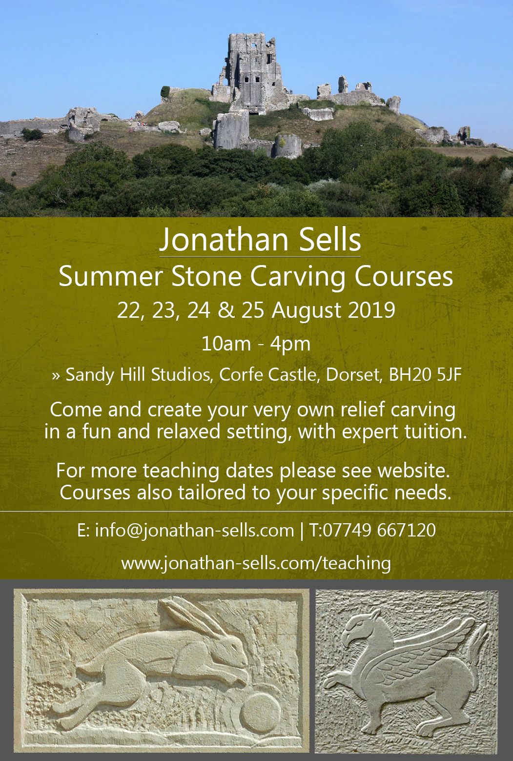 Poster for stone carving lessons at Corfe Castle, August 2019.