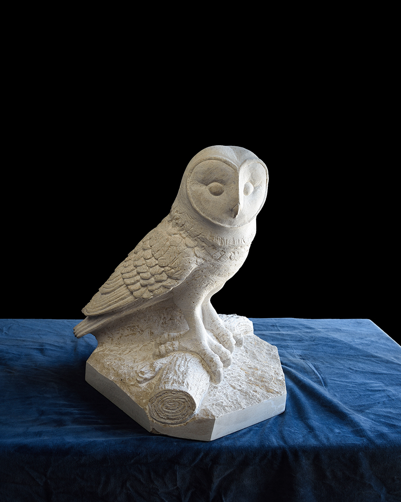 Hand-carved stone owl, by Jonathan Sells.