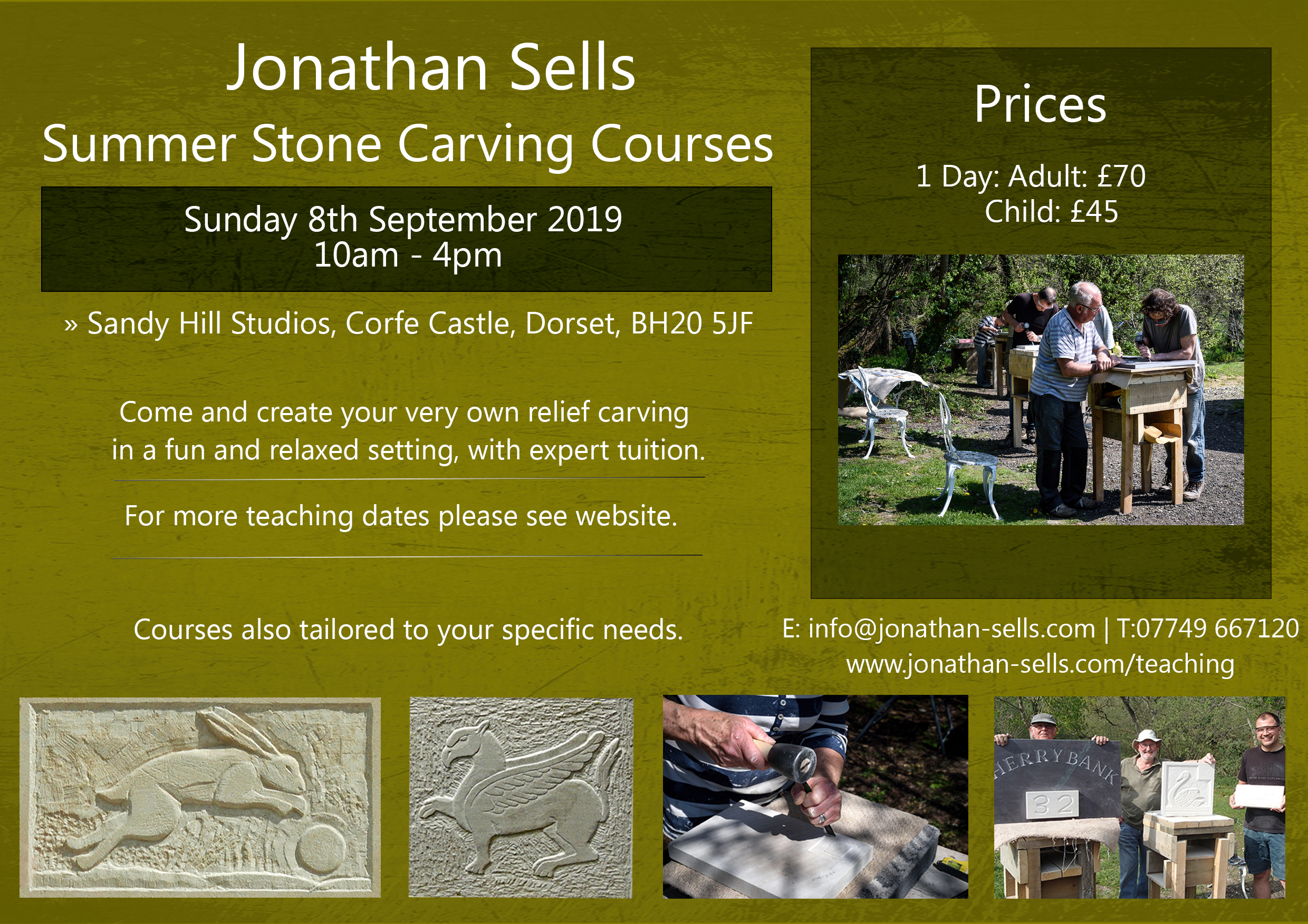 Flyer for stone carving course Corfe Castle, 8th September 2019, Dorset.