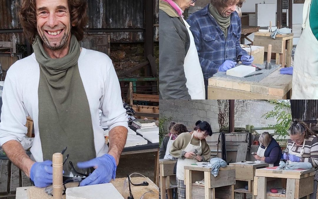 Stone Carving at Guggleton Farm Arts, Stalbridge, Dorset – 7th December