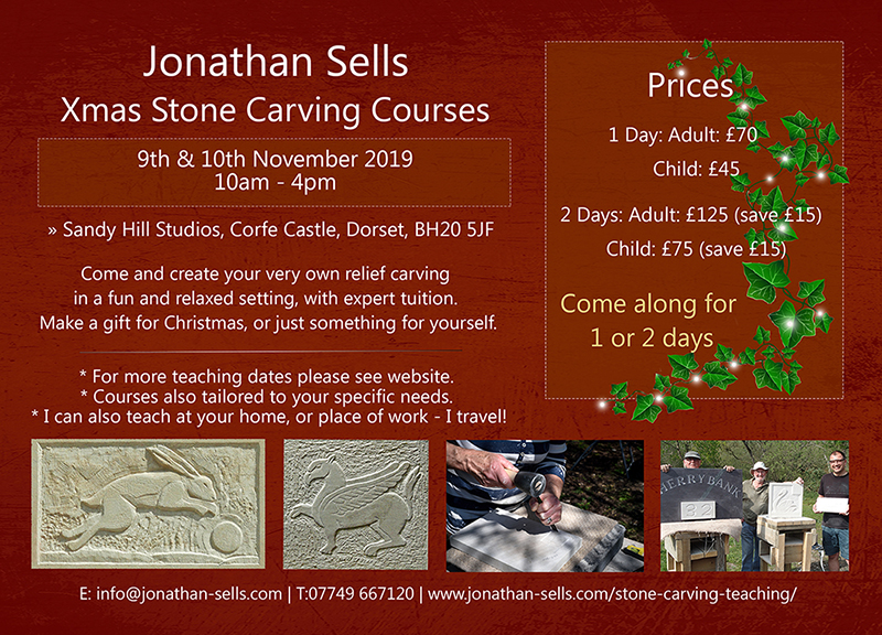Stone carving lessons Dorset - November 9th &10th 2019.