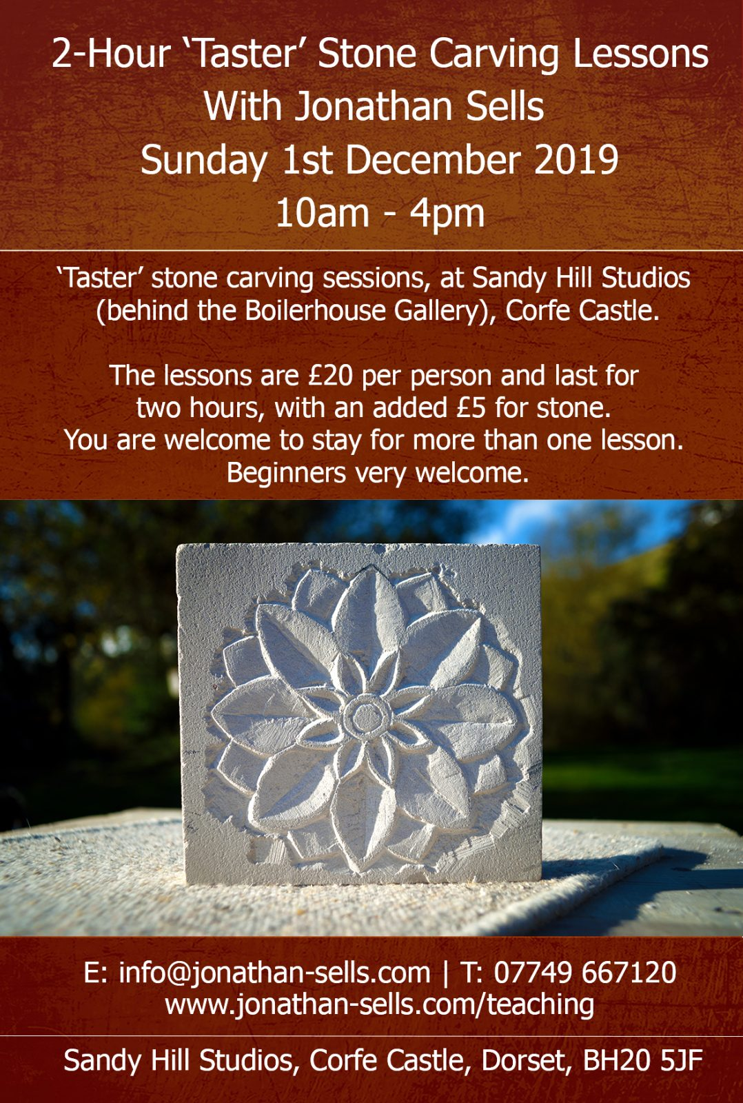 Stone carving sessions, Corfe Castle - Sunday 1st December 2019.