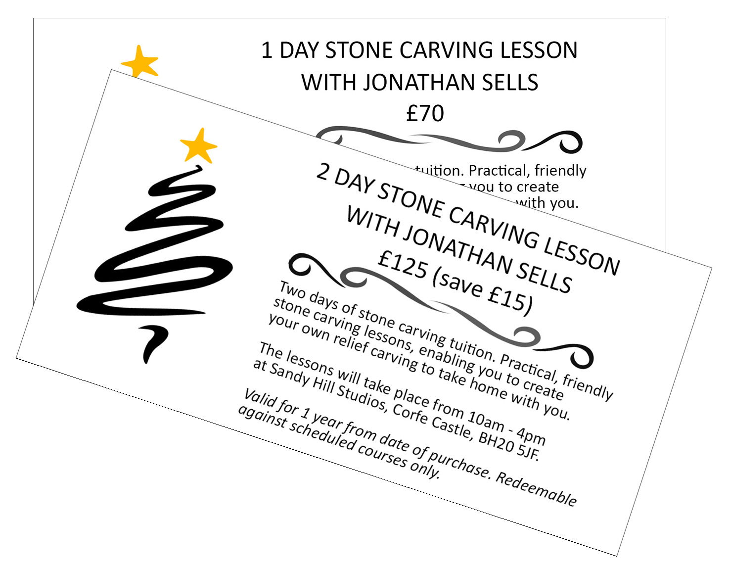 Dorset stone carving gift voucher - 1 or 2 days.