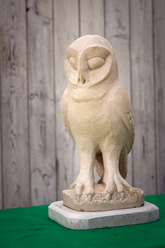 Stone owl, carved from Portland stone.