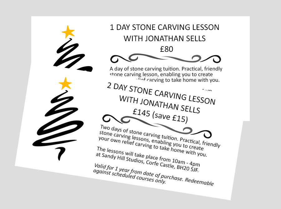 Dorset stone carving gift voucher - 1 or 2 days of lessons.